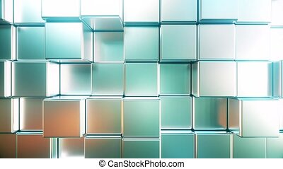 Reflective metallic square bars, loopable 3D animation