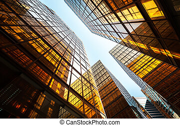 Reflective office building exterior, Hong Kong - HARBOUR...