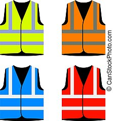 reflective road industry safety vest - illustration for the web