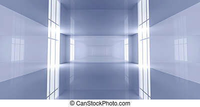 Reflective Room - 3D rendered Interior. An empty room.