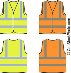 reflective safety vest yellow orange - illustration for the ...