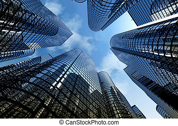 Reflective skyscrapers, business office buildings.
