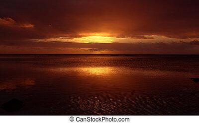 Reflective Sunset - Red Sunset on Rarotonga