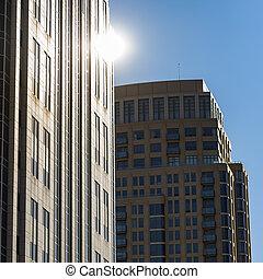 Reflective tall buildings in Salt Lake City Utah