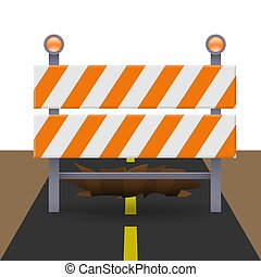 Reflective traffic barricade in front of large sinkhole