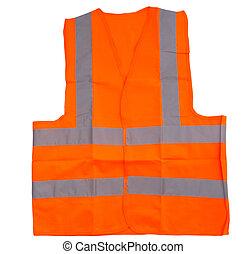 Reflective Vest - Orange reflective vest over white...