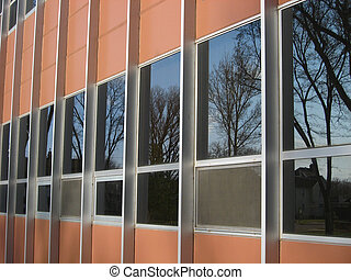 Reflective Windows - Windows on the side of a school...