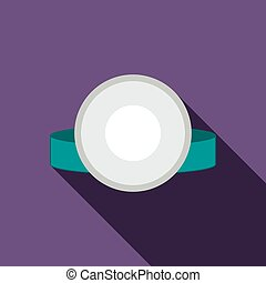 Reflector frontal of otolaryngologist icon in flat style on...
