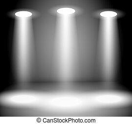 Reflector Lights in Empty room Vector Illustration