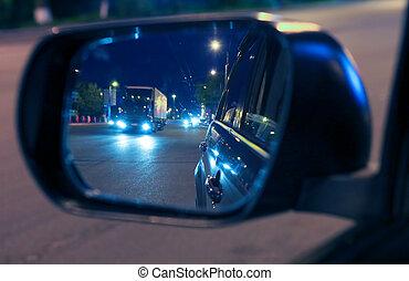 reflejado adentro, espejo lado, de, coche