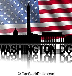 reflejado, contorno, texto, washington, norteamericano, ilustración, cc, bandera, ondulado
