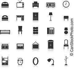 reflejar, blanco, dormitorio, plano de fondo, iconos