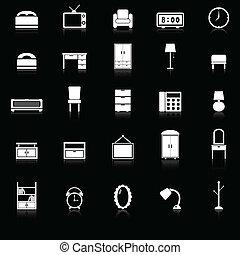 reflejar, dormitorio, fondo negro, iconos