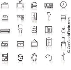 reflejar, línea, dormitorio, blanco, iconos