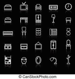 reflejar, línea, dormitorio, negro, iconos