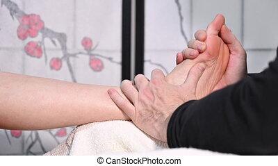refleksologia, massage., acupressure, medycyna, feet, ...