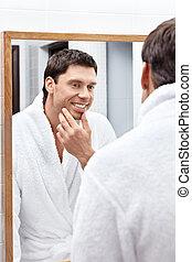 reflektion, ind, den, spejl