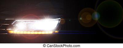 reflektor, gęsty, wóz, nowoczesny, przeciw, ciemny, mgła, tło