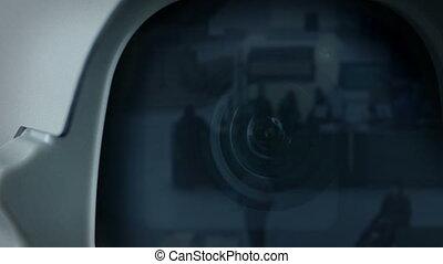 reflet, appareil photo, cctv, gens, secteur, vestibule
