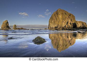 reflet, canon, 3, rocher, meule foin, plage