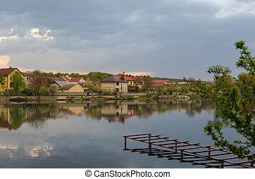 reflet, ciel, lac, pluie, village, avant