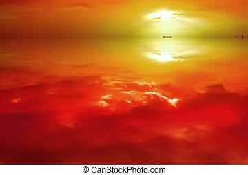 reflet, coloré, ciel, coucher soleil, mer, horizontal, nuage