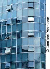 reflet, dans, fenetres, de, moderne, bâtiment bureau