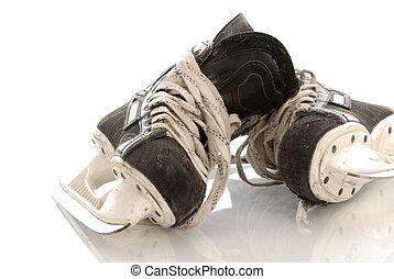 reflet, hockey glace, fond, patins, blanc