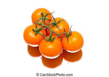 reflet, mûre, fond, blanc, tomates, tas