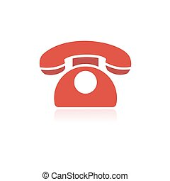 reflet, téléphone, fond, blanc rouge, icône