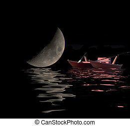 refletido, bote, lua