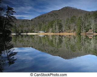 refletido, lago