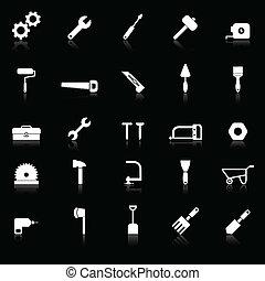 refletir, ferramenta, experiência preta, ícones