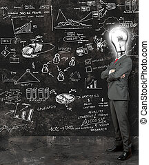 refletir, homem negócios, idéias, novo
