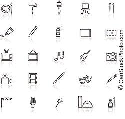 refletir, linha arte, branca, ícones
