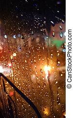 refletir, luz, gotas, chuva, amarela