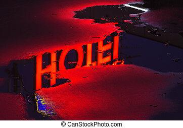 refletir, luz néon, vermelho, hotel