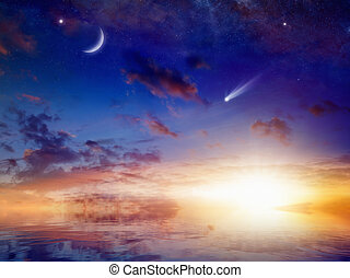 reflexão, céu, luminoso, estrelas, pôr do sol, crescente, mar, cometa