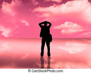 reflexão, céu, silueta
