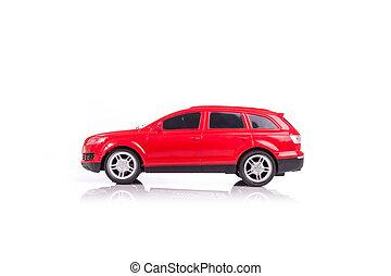 reflexão, car, isolado, modelo, branco vermelho