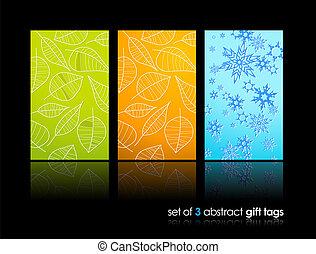 reflexão., cartões, jogo, presente, natureza