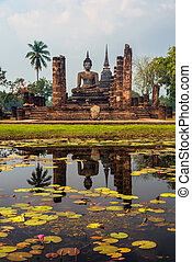 reflexão, de, buddha