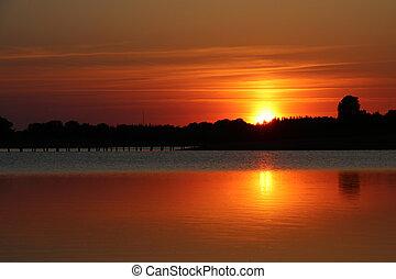 reflexão, de, pôr do sol