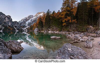 reflexão, di, braies, água, lago, pacata, pico