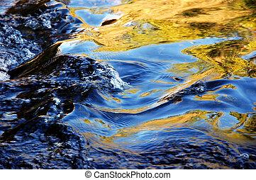 reflexão, em, água corrente