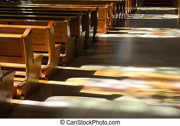 reflexão, janelas, dentro, vidro manchado, igreja