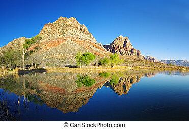 reflexão lago, deserto