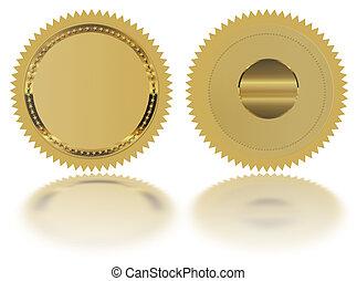 reflexão, ouro, selo, medalha, -, selo, em branco