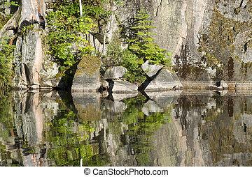 reflexão, rocha
