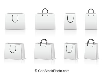 reflexão., sacolas, papel, shopping, em branco